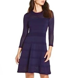 Vince Camuto Mix Stitch Pointelle Fit &Flare Dress
